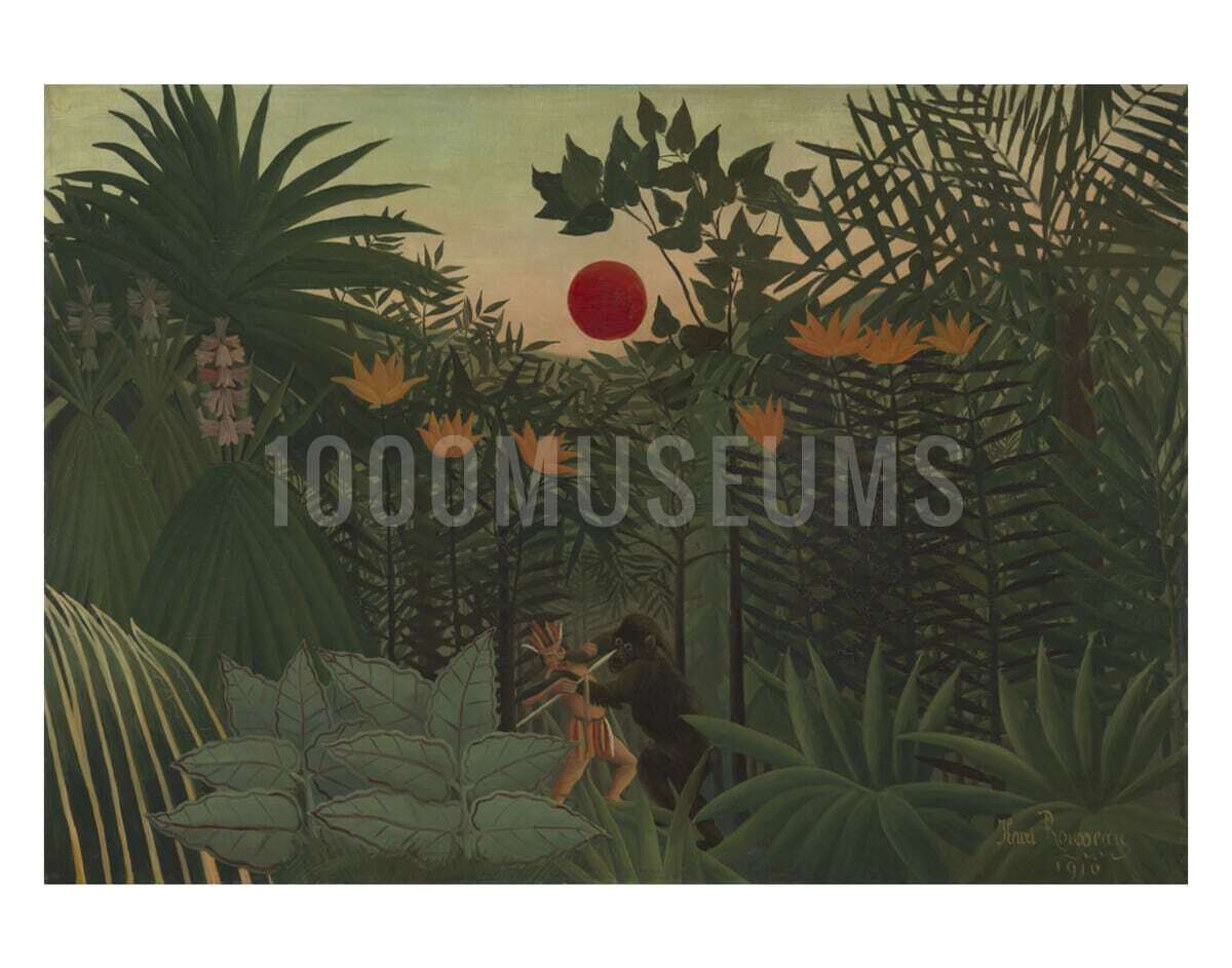 Tropical Landscape An American Indian Struggling With A Gorilla 1000museums